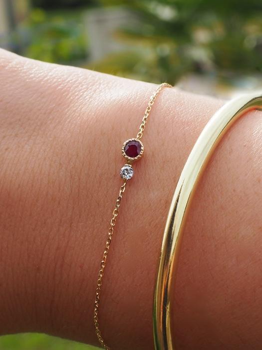 Bracelet rubis et diamants.57 Facettes.